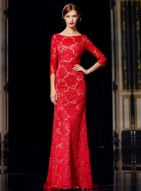Red Mermaid Lace 3/4 Sleeve Bateau Long Mother Of The Bride Dress