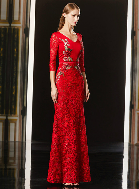 Red Mermaid Lace Sequins V-neck 3/4 Sleeve Mother Of The Bride Dress