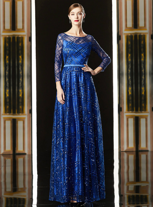 A-Line Blue Tulle Seuqins Long Sleeve Mother Of The Bride Dress