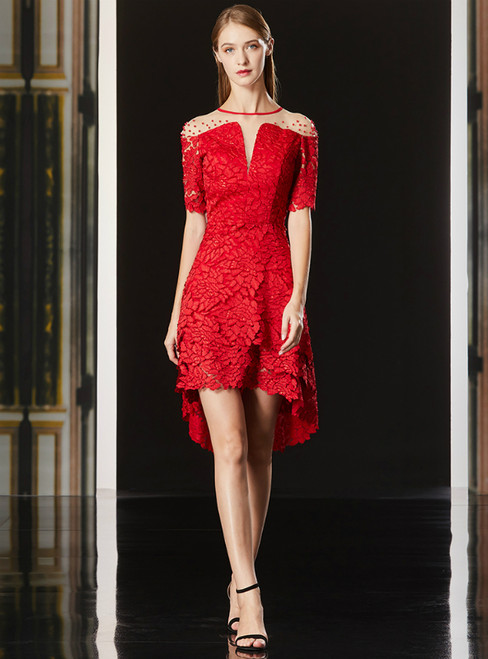 A-Line Hi Lo Red Lace Short Sleeve Mother Of The Bride Dress With Beading