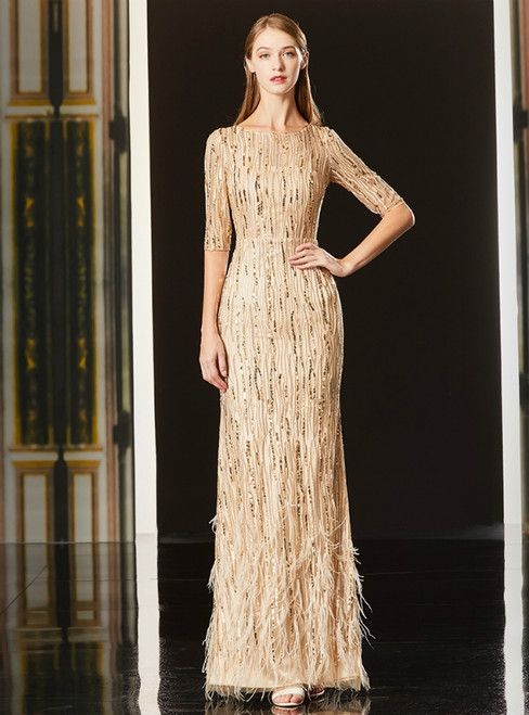 Champagne Mermaid Sequins Long Sleeve Mother Of The Bride Dress With  Feather