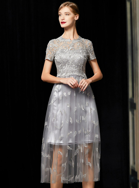 Silver Gray Tulle Lace Short Sleeve Embroidery Mother Of The Bride Dress