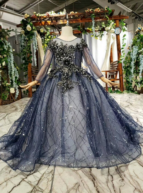 Navy Blue Tulle Sequins Backless Appliques Long Sleeve Flower Girl Dress