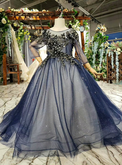Navy Blue Ball Gown Tulle Sequins Backless Appliques Long Sleeve Flower Girl Dress