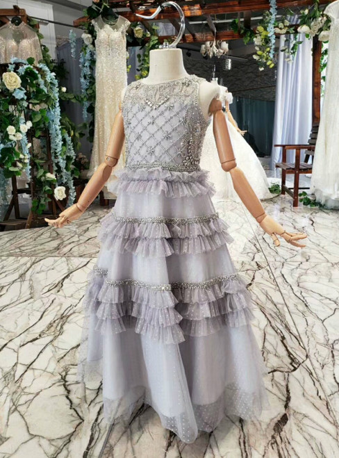 A-Line Gray Tulle Tiers Beading Crystal Sleeveless Flower Girl Dress