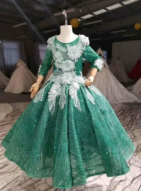 Green Ball Gown Sequins Long Sleeve Backless Appliques Flower Girl Dress