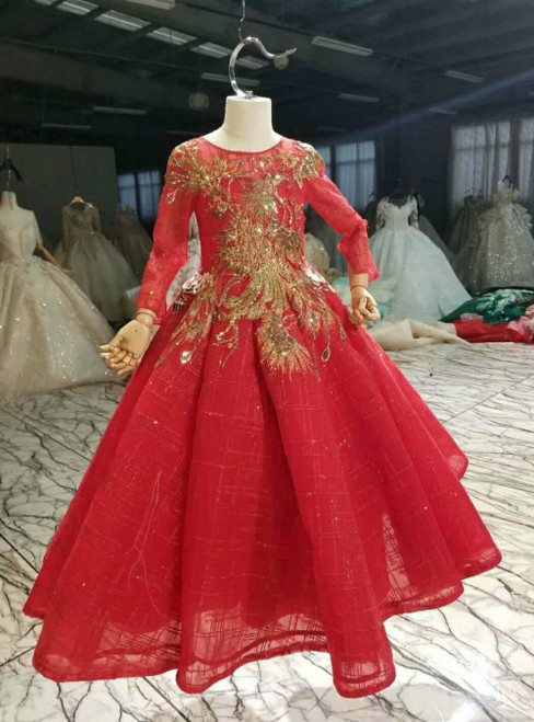 Red Ball Gown Sequins Long Sleeve Embroidery Appliques Flower Girl Dress