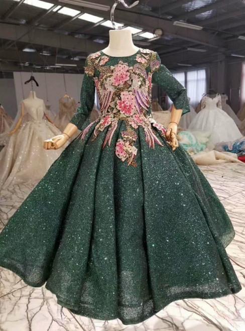 Dark Green Sequins Backless Long Sleeve Embroidery Appliques Flower Girl Dress