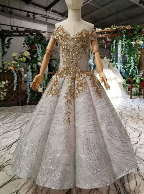 Gray Ball Gown Sequins Off the Shoulder Gold Sequins Appliques Flower Girl Dress