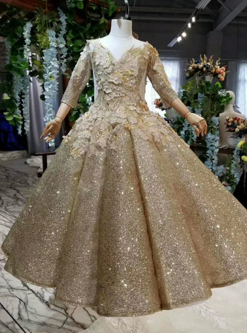 Gold Ball Gown Sequins Appliques Long Sleeve Flower Girl Dress