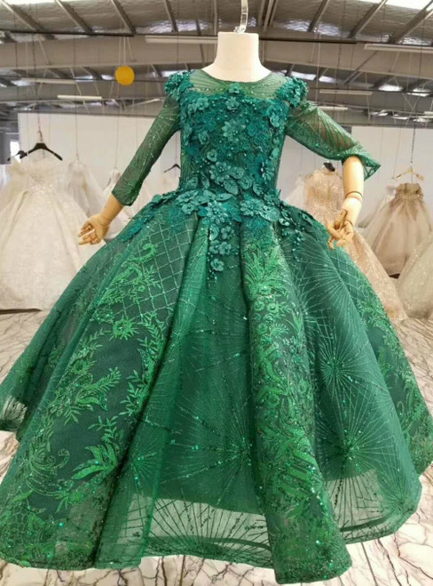 Green Ball Gown Sequins Appliques Long Sleeve Flower Girl Dress