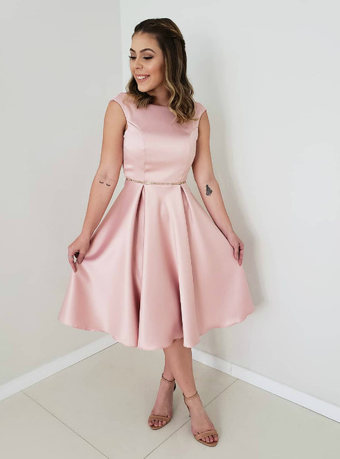 A-Line Pink Satin Backless Short Homecoming Dress