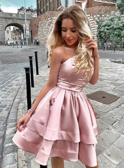 A-Line Pink Satin One Shoulder Short Homecoming Dress