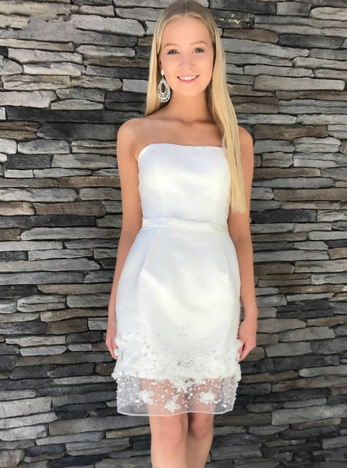 White Sheath Strapless Appliques Beading Short Homecoming Dress