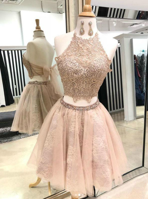 Champagne Two Piece Halter Lace Tulle Homecoming Dress