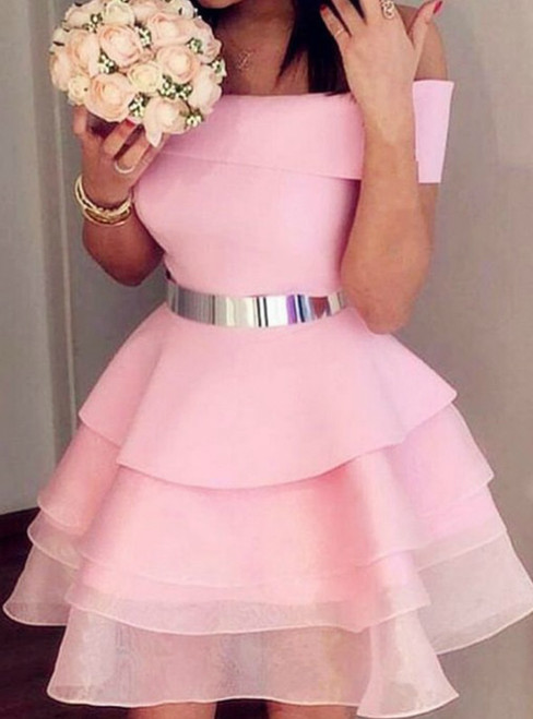 A-Line Pink Off the Shouder Organza Homecoming Dress With Sash