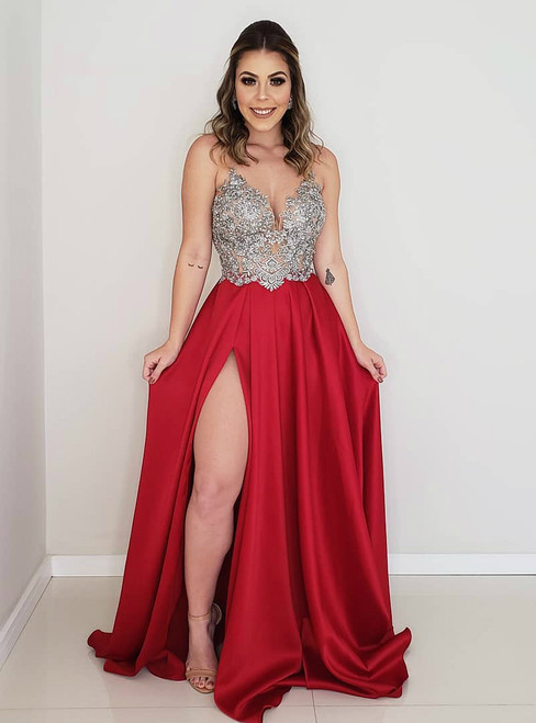 A-Line Red Satin Appliques Backless Prom Dress With Side Split