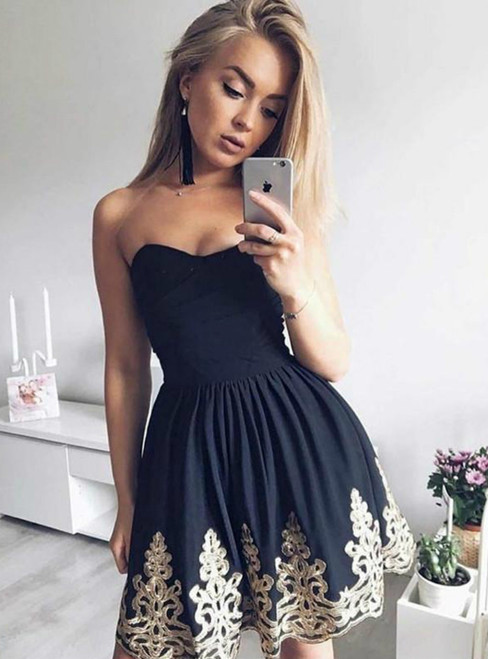 Black Satin Sweetheart Appliques Short Homecoming Dress