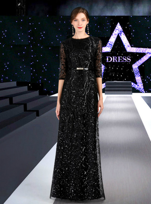 A-Line Black Sequins Half Sleeve Mother Of The Bride Dress With Sash
