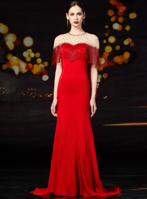 Red Mermaid Satin Cap Sleeve Beading Mother Of The Bride Dress With Beading