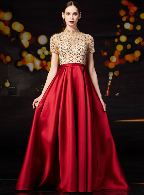 Red Satin High Neck Cap Sleeve Mother Of The Bride Dress With Beading
