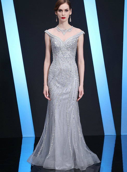 Silver Gray Tulle Mermaid Cap Sleeve Beading Mother of the Bride Dress