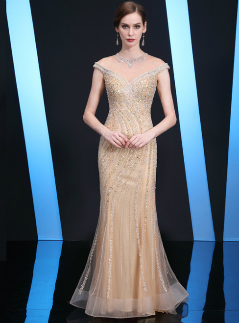 Gold Tulle Mermaid Cap Sleeve Beading Mother of the Bride Dress