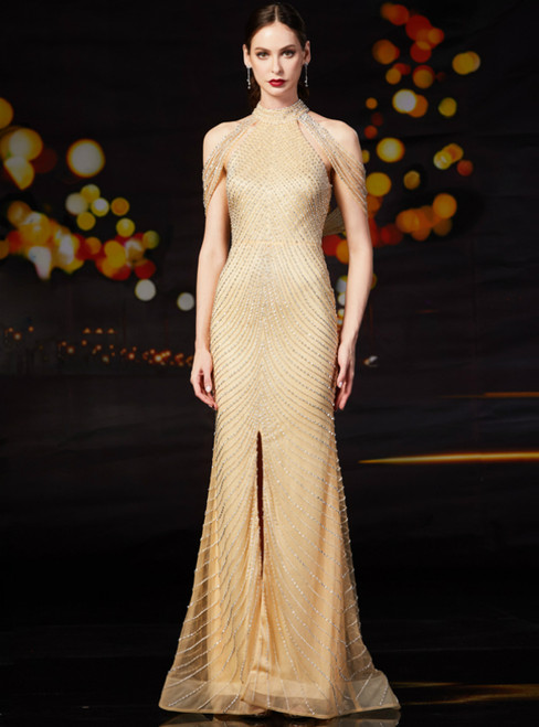 Gold Mermaid Tulle High Neck Mother of the Bride Dress With Beading