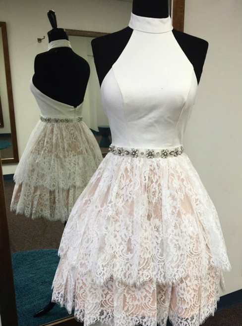 High Neck White Homecoming Dress  Cheap Prom Dress Short Short Lace Backless Homecoming Dress