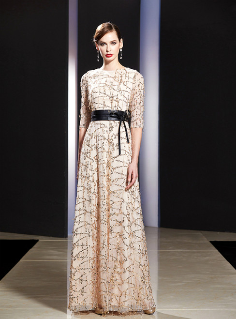 A-Line Champagne Sequins Short Sleeve Mother Of The Bride Dress With Sash