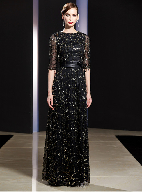 A-Line Black Sequins Short Sleeve Mother Of The Bride Dress With Sash