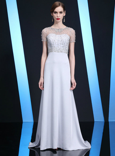 Silver Sheath Short Sleeve Beading Long Mother of the Bride Dress