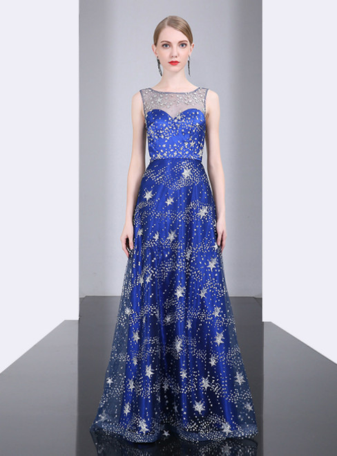 A-Line Blue Tulle Star Sequins Floor Length  Mother of the Bride Dress