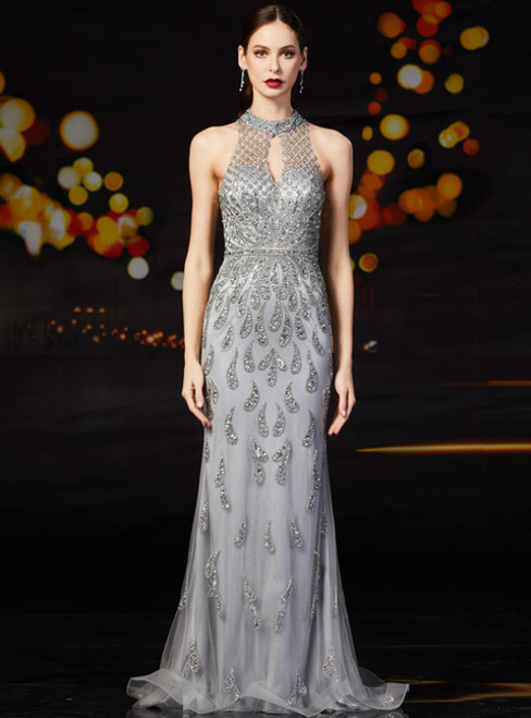 Gray Mermaid Tulle Keyhole Beading Sequins Mother Of The Bride Dress