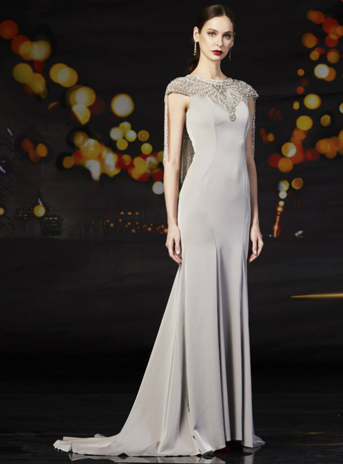 Gray Mermaid Satin Cap Sleeve Mother Of The Bride Dress With Beading