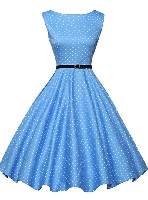 Ready To Ship Blue Boatneck Sleeveless Vintage Tea Dress With Belt