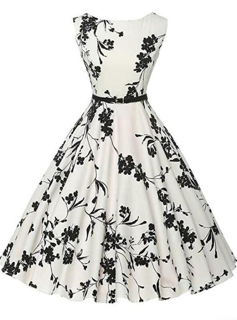 Ready To Ship Women White Print Sleeveless Short Vintage Dress