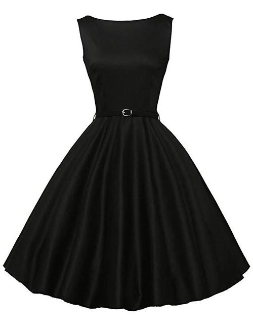 Ready To Ship Fashion Black Short Sleevelss Vintage Tea Dress