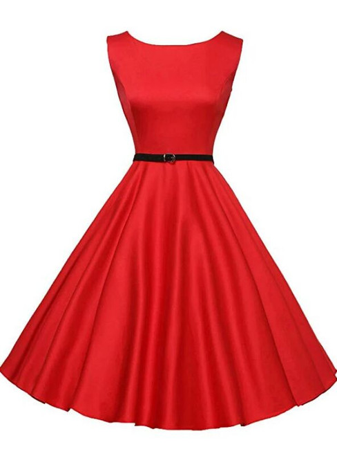 Ready To Ship Fashion Red Short Sleevelss Vintage Tea Dress
