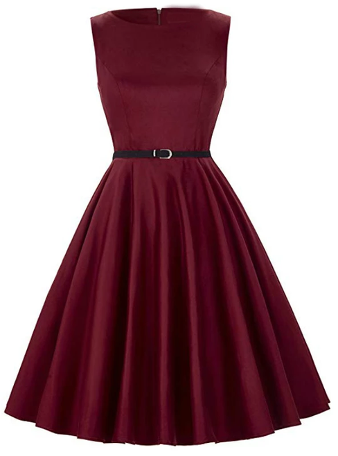 Ready To Ship Fashion Wine Red Short Sleevelss Vintage Tea Dress