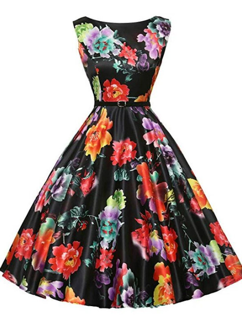 Ready To Ship Women Black Print Sleevelss Vintage 1950S Dress