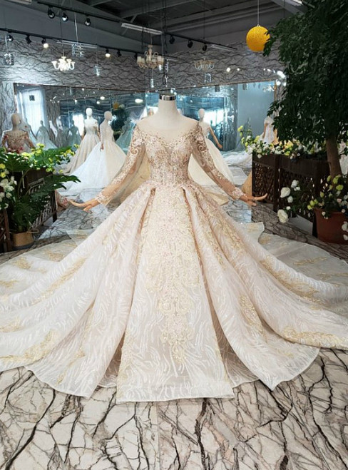Champagne Long Sleeve Appliques Backless Beading Luxury Wedding Dress