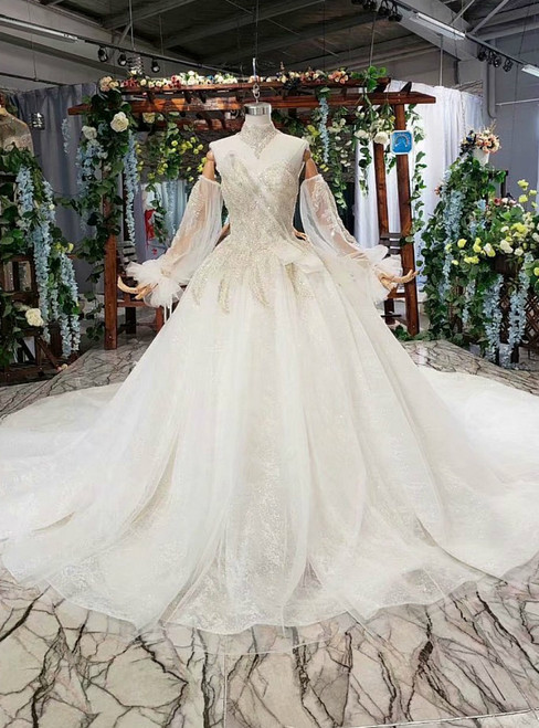 Light Champagne Tulle Sequins Off the Shoulder Long Sleeve Luxury Wedding Dress