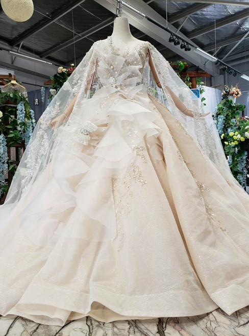 Champagne Tulle Sequins Appliques Luxury Wedding Dress With Shawl