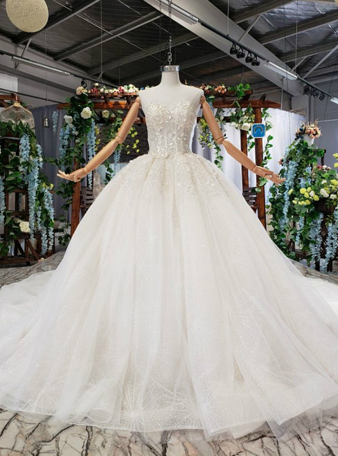 Light Champagne Tulle Sequins Sweetheart Luxury Wedding Dress With Shawl