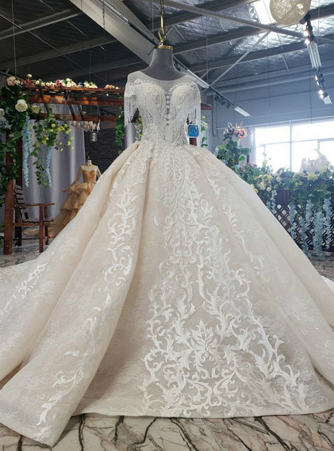 Champagne Ball Gown Tulle Sequins Appliques Cap Sleeve Beading Luxury Wedding Dress