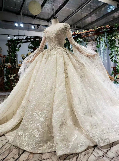 Champagne Tulle Lace Appliques Long Sleeve Luxury Wedding Dress With Beading