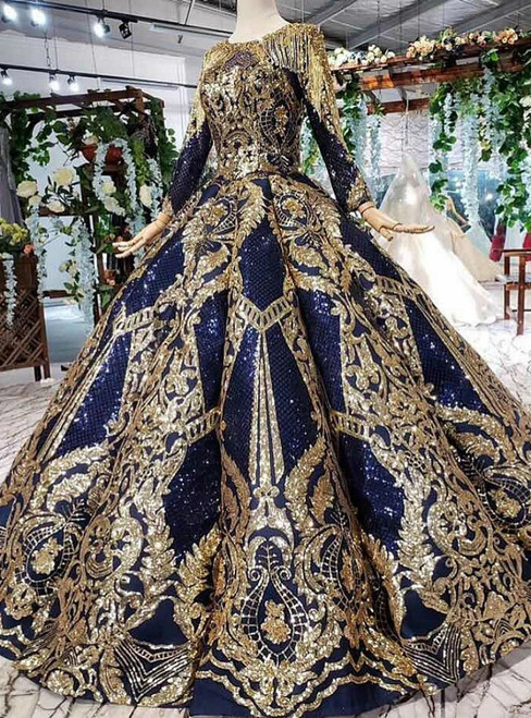Navy Blue Sequins And Gold Sequins Long Sleeve Hand Beading Crystal Luxury Wedding Dress