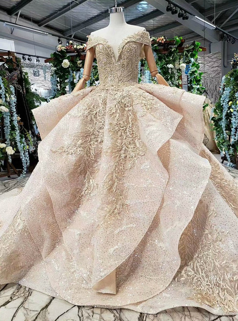 Champagne Gold Sequins Off the Shoulder Appliques Beading Luxury Wedding Dress