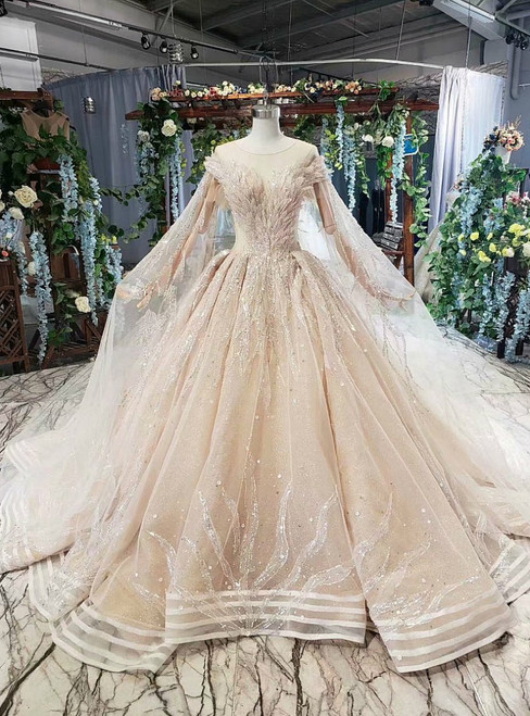 Champagne Ball Gown Tulle Seuqins Backless Luxury Wedding Dress